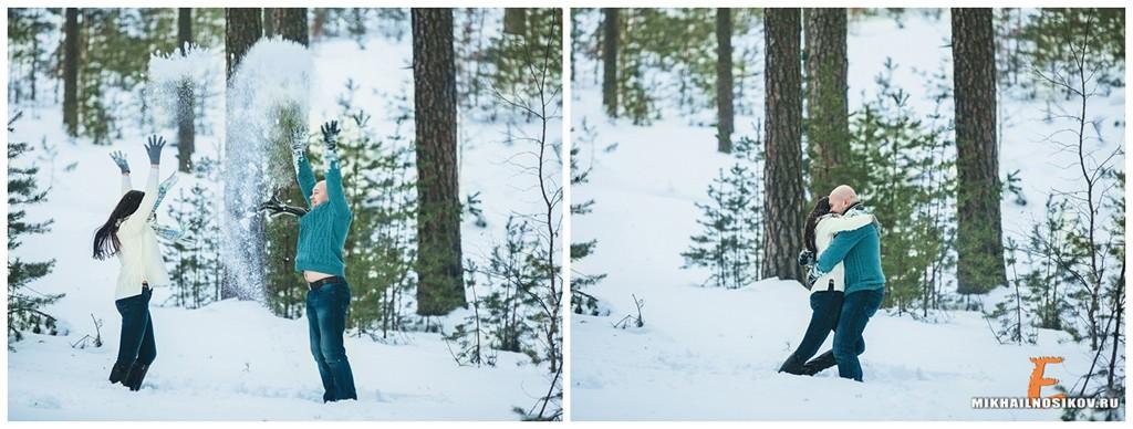 Зимняя лав стори в лесу