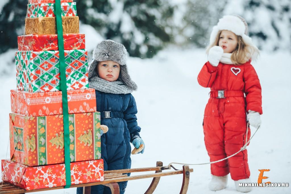 Зимняя фотосессия детей