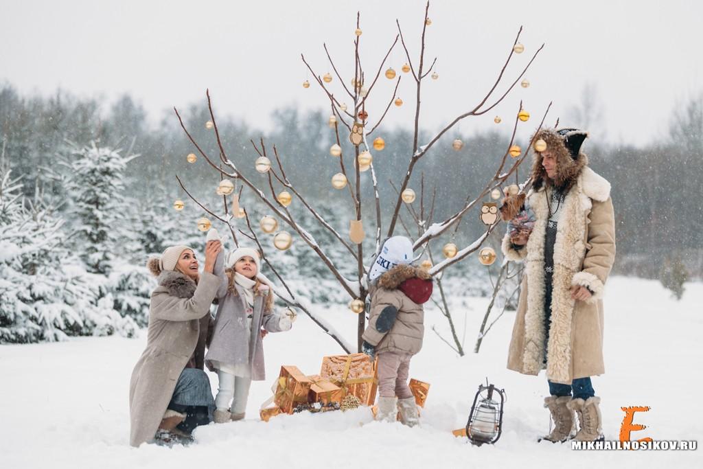 Зимняя фотосессия на улице с детьми