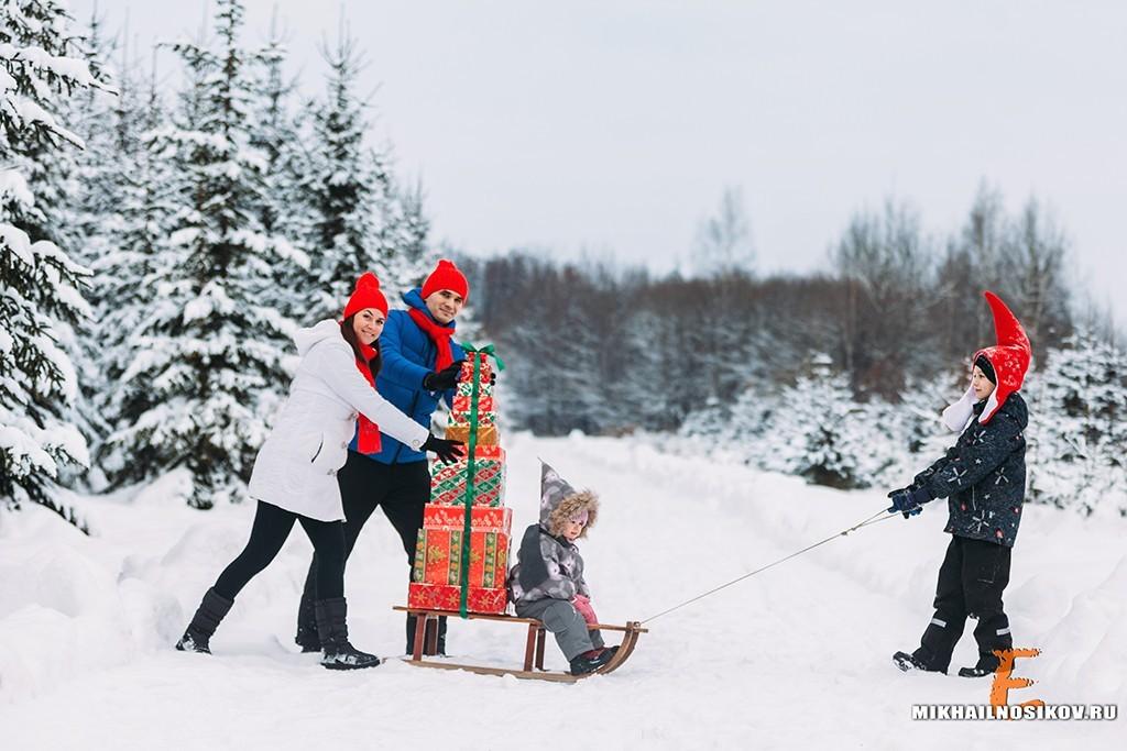 Зимняя фотосессия - катание на санках идеи