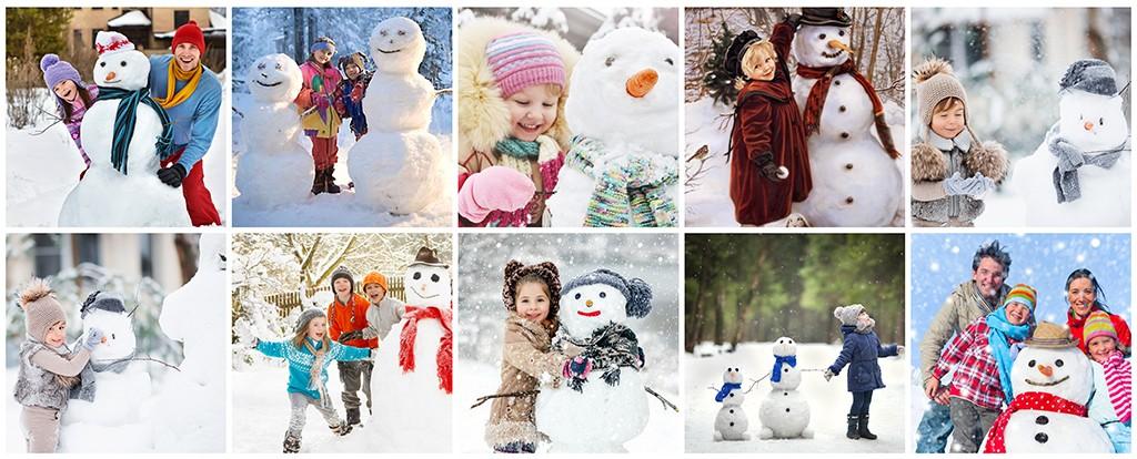 Зимняя фотосессия детей - лепим снеговика