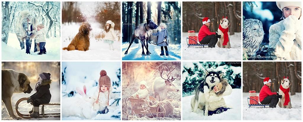 Зимняя фотосессия детей идеи